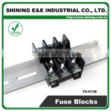 FS-013B 600V 10 Amp 3 Way Midget Type Din Rail Glass Fuse Block