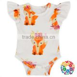 Cute Fox Baby Girl Boutique Clothes Flutter Sleeve Newborn Baby Romper Wholesale Toddlers Clothes In China Yiwu