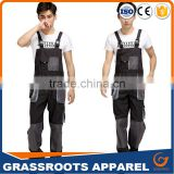 OEM service wholesale high visibility workwear bib pants / hi-vis safety reflective working wear uniform