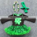 2016 new St Patrick shamrock paillette tutu dresses girls baby kids clothes romper with matching necklace and headband set
