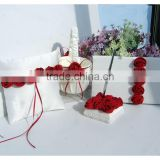 2015 New arrivals Set of 4pcs Elegant Satin roses Wedding Guest Book Pen Holder ring pillow basket Set Wedding Party Favor