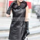 Lady's Fashion Geniune Long Pig Leather Jacket Vest With Raccoon Fur Collar/Wholesale And Retail