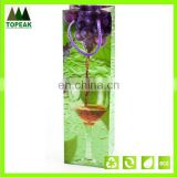 hot selling plastic gift bag handle wine glass bag WB-NO008