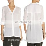 china latest smart casual blouse for woman ladies blouse top transparent white blouse 2015