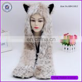 Spirit Animal Hoods Scarf With Paw Print Gloves Pocket ,Faux Fur Snow Leopard Animal Hoods