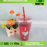 Two Layers Couple Juice Tube PP Plasitc Cup With Lid