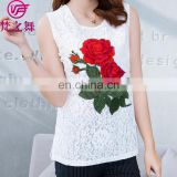 Cheap price embroidered casual lace and chiffon adult lady top clothes
