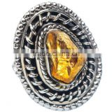 ROUGH CITRINE RING 925 SOLID STERLING,SILVER EXPORTER,STERLING SILVER JEWELRY,SILVER RING,WHOLESALE SILVER JEWELRY
