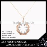 Fine jewelry prong/micro paved jewelry AAA grade ladies necklace with gold plated chain