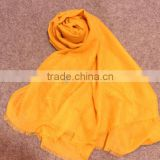 Fashionable voile slubbed pure color gold printed long scarf muslim hijab shawl viscose scarf