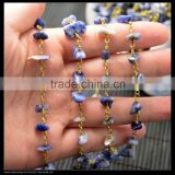 LFD-003C ~Wholesale DIY Gold Plated Wire Wrapped Freeform lapis Chips Chain Gemstone Beaded Jewelry Finding