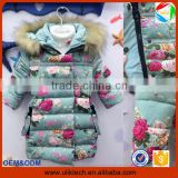 2015 New floral girls down coat for children wear windproof child clothes wholesale boutique winter coat children (ulik-J005)