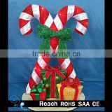 christmas decoration supplies crutch and Linen giftbox with lights indoor wall hanging decoration