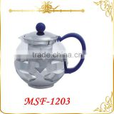 2015 wholesale low price glass tea pot with ultra-fine tea strainer & colorful plastic handle MSF-1203