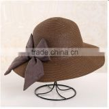 QXSH0036B British style women straw hat Floppy wide brim with bowknot ribbon striped beach hat fedora for ladies