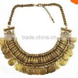 Festival Fringe statement silver retro necklace - Ethnic jewelry gypsy coin necklace                                                                         Quality Choice