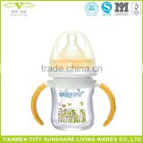 Wide Scope With Straw Handles Drop Explosion-proof Prevent Bloating Baby Products Titanium Crystal Glass Bottles