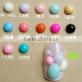 2015 New 5mm Candy color resin beads nail flat back rhinestones beautiful resin stone for nails 3d nail art decoration