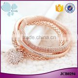 Fashion gold rose gold plated rope zinc alloy rhinestone heart pendant charm bracelet                                                                                                         Supplier's Choice