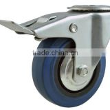 caster trolley wheel, blue elastic rubber caster, hollow stem, bolt hole swivel with total brake.