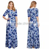 Women Ladies Summer Autumn Blue and White porcelain Dress Maxi Floral Chiffon beach Dress