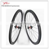 Carbon cyclo cross bicycle wheels 38mm deep 23mm wide clincher DT 240S disc brake carbon bike wheels central lock or 6 bolt