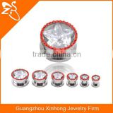 TP01029 stainless steel body jewelry factory , zircon ear plug piercing