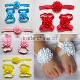Pretty Newborn Baby Soft Handmade Flower Shoes with Matching Headband Infant Toddler Barefoot Sandals Walking                                                                         Quality Choice