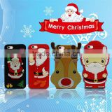 Cute Christmas Santa & Deer Soft silicone 3d printing phone back cover case, silicone phone case for iphone 5s/6/6/p