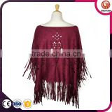 Fashion Lady Micro Suede Scarf Wrap Floral Hollow Perforated Long Fringe Tassel Suede Shawl