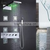 Contemporary ceiling rain SPA bathroom kit accessories set water 304 SUS faucet LED shower panel massage mixer with body jets