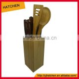 AH09 bamboo wood 7 slots universal knife block or holder without knives