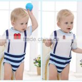 cheap babysuit 100% cotton baby clothes blue stripe Baby body suits                                                                                                         Supplier's Choice