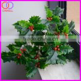 Christmas Decoration Supplies artificial green leaves with berries for christmas decoration