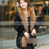 new design korean whole hide rabbit fur slim long sleeve black women long coat with big raccoon fur collar