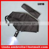 [L016] 3 folding automatic open&close LED umbrella with torch handle