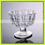 Luxury decorated round sundae glass cup,banana split glass bowl with short stand