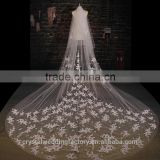 2015 wholesale vintage style white ivory long lace cathedral wedding veils accessories 5 meters long and 3 meters width LV09