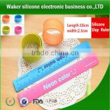 Snap Silicone Bracelet With Ruler,metal ,Silicone Slap Wristbands,Silicone slap bracelet
