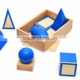 Wooden educational baby toy Montessori Geometric Solids with Stands Bases and Box