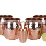 Set of 4 Pure Copper Beer Mugs with Copper Shot Glass , moscow mule mug 100% SOLID COPPER MUGS MANUFACTURER INDIA