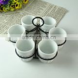 New design cheap white porcelain cup and plate in stock, wholesale coffee set , tea set, espresso cup saucers with black iron