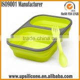 2-compartment Food Container with Lid Silicone Collapsible Lunch Box with Lid Dishwasher safe Bento Lunch Box Container