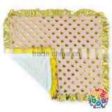 65*75Cm Newborn Baby Soft Swaddle Blanket Gold Polka Dot Baby Boy And Girl Fleece Blanket Wholesale Price In China Manufacture