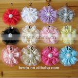 beautiful and lovely lace flowers pearl center for baby girl's