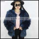 New Style Modern Ladies Blue Knitted Raccoon Faux Fur Coat
