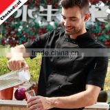 Oem fashion short sleeve stand collar summer chef coat restaurant cooking black chef uniform