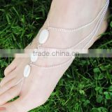 Mix wrap shell bell anklet unique oval shape shell anklet with toe rings white shell beads foot chain jewelry