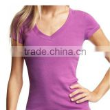 Blank deep V neck t shirt for womens