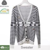 Small quantity clothing sweater manufacturern for girl,striped crewneck black & white cardigan sweater